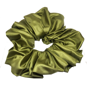 oversized scrunchie - satin olive