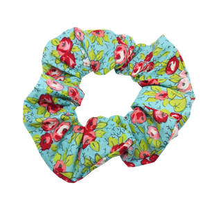 mini scrunchie - blue flowers