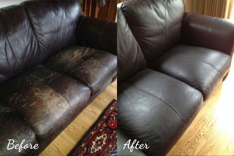 Before and after leather restoration couch