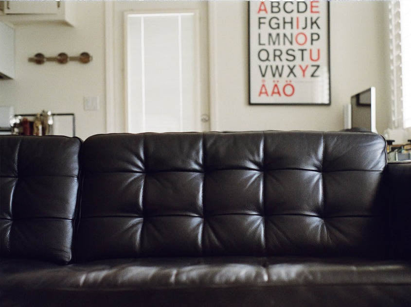 dark leather sofa