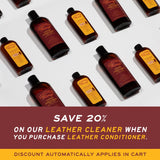 Graphic image of how you can save 20% on your leather cleaner when you purchase the leather honey leather conditioner - the discount automatically applies in cart.