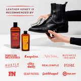 Black boot that has been cleaned and conditioned with leather honey leather cleaner and leather conditioner. Recommended by Popular Mechanics, Esquire, New York, Business Insider, Bustle, elite daily, RealSimple, Paste, FN, Gear Patrol, Geek Wrapped, and Motor Day magazines and publications.