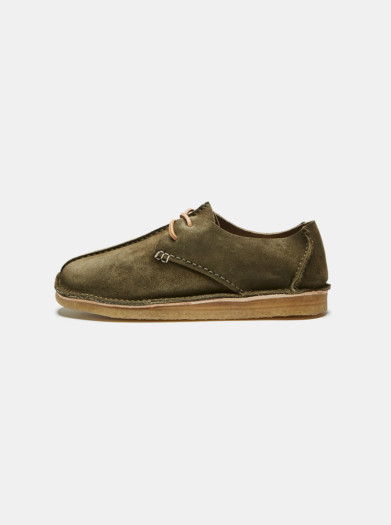 Caden Centre Seam Suede Lace-up Olive