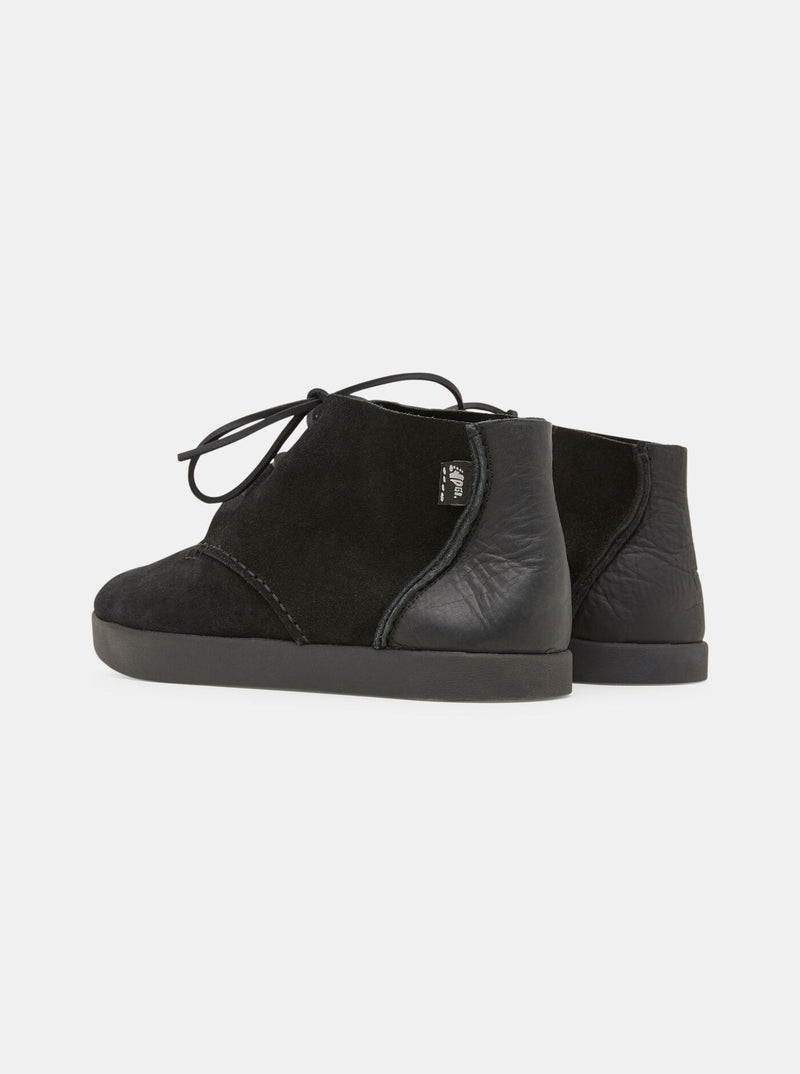 Elijah Tumbled Leather/Suede Negative Heel Black
