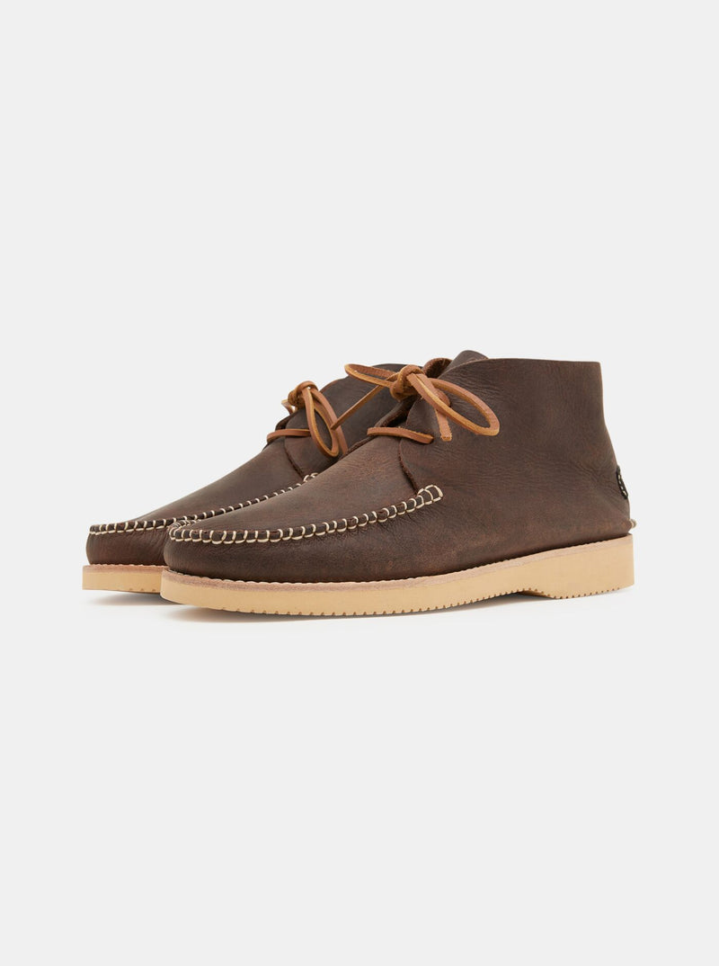 Lucas Tumbled Leather Moccasin Vibram Boot Brown