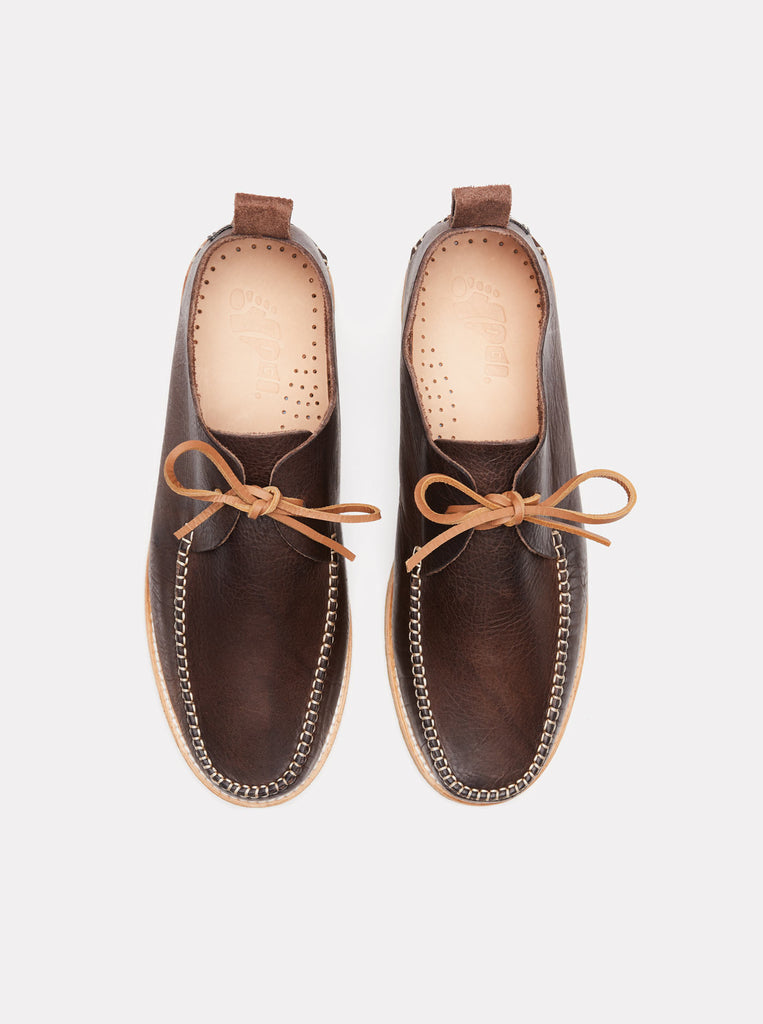 Lawson Textured Leather Moccasin Chocolate