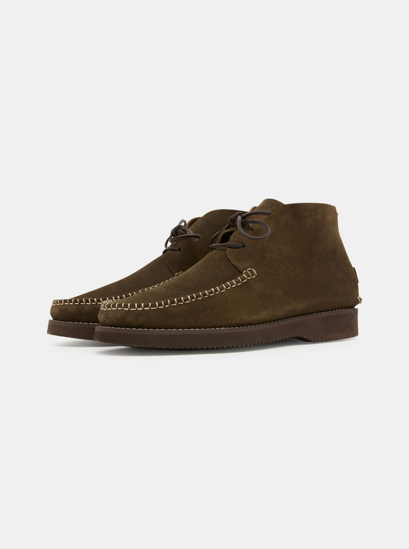 Lucas Suede Moccasin Vibram Boot Olive