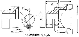 176NYS38-3 Meritor 176N Series End/Pinion Yoke | Round Bearing Diagram