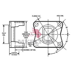 121N-2-1050 Meritor 1210 Series Flange Yoke | Outside Snap Ring