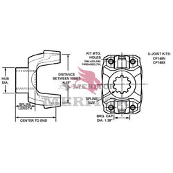 148N-4-3861 Meritor 148N Series End/Pinion Yoke | Easy Service