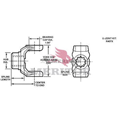 176N-4-381 Meritor 176N Series End/Pinion Yoke | Round Bearing