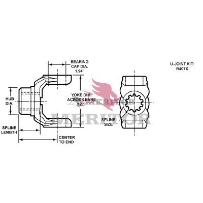 176NYS38-3 Meritor 176N Series End/Pinion Yoke | Round Bearing