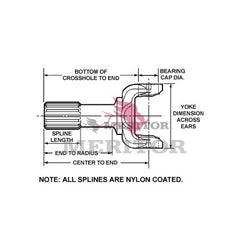 20RYSM40-28 Meritor 20R Series Yoke Shaft | Round Bearing