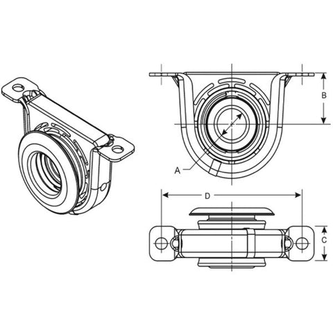 212276-1X Spicer Center Bearing