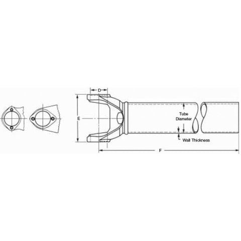 3-27-2-6400 Spicer 1350 Series Tube & Yoke Assembly
