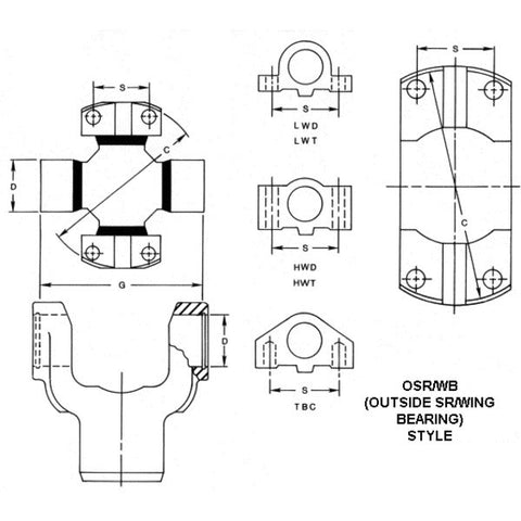 5-328X Spicer 1550 To 58Wb Conversion U-Joint Kit