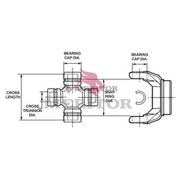 CP1200X Meritor S55 Series U-Joint Kit | In-Out Snap Ring Combinations