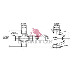 CP155X Meritor 155N Series U-Joint Kit | Outside Snap Ring
