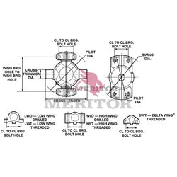 CP62N-HWD-PL Meritor 62N Series U-Joint Kit | Wing Type Combination