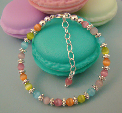 March Aquamarine Gemstones & Bright Silver Pastels Cat Eye & April Crystal Bracelet