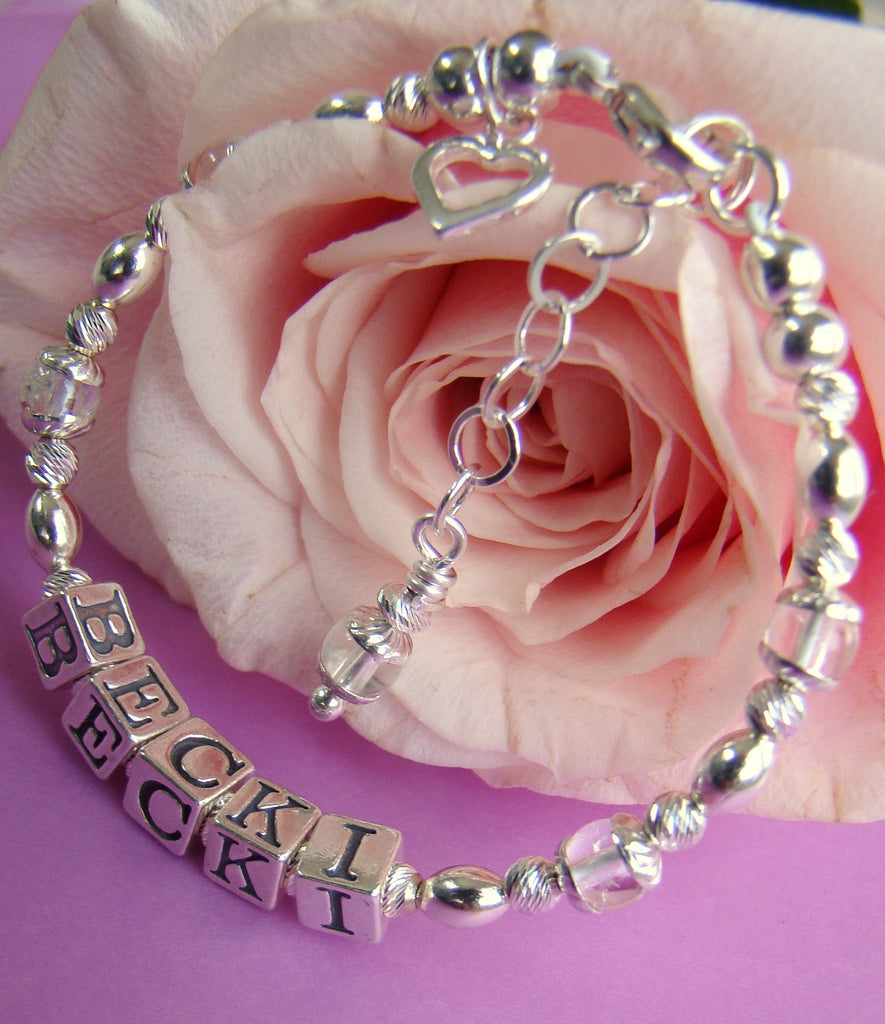 April Gemstone Birthstone Sterling Silver Charm Name Bracelets