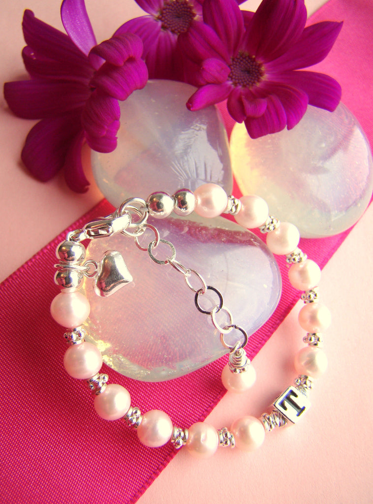All Natural Pink Pearls Heart Charm Baby Monogram Name Bracelet