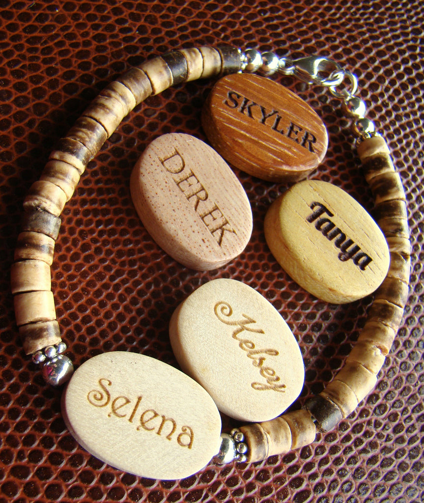 New! Engraved Organic Wood Coconut Beaded Name & Monogram Initial Sterling Silver Bracelets