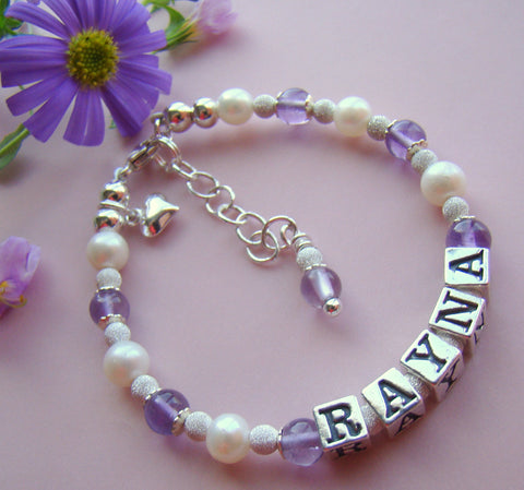 Light Amethyst Gemstones and Freshwater Pearls for Junes Birthstones