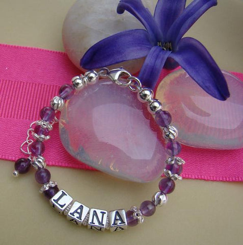 February Dark Amethyst Grade A Gemstones Dressed in .925 Sterling Silver Bracelets