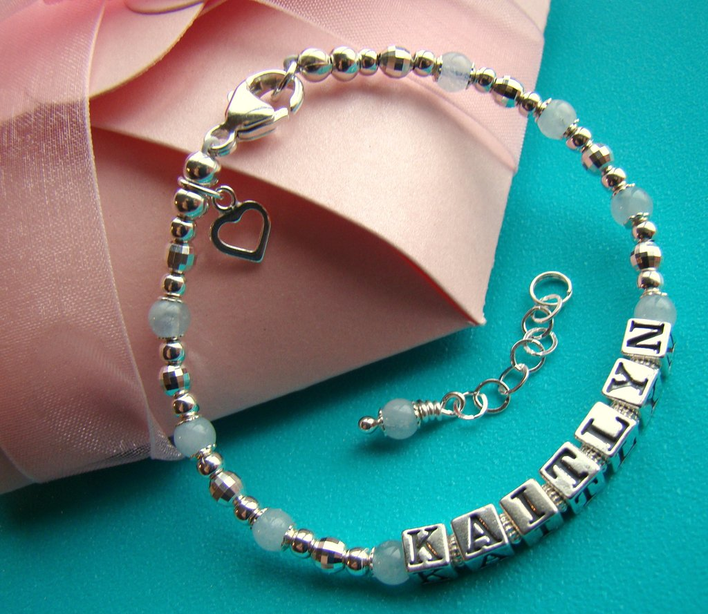 March Aquamarine Gemstones Sterling Silver Name Bracelet and Welcome Spring Sale!