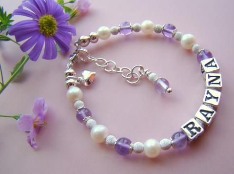 Summer Sale on Sterling Silver Ruby Peridot and Amethyst Name Bracelets