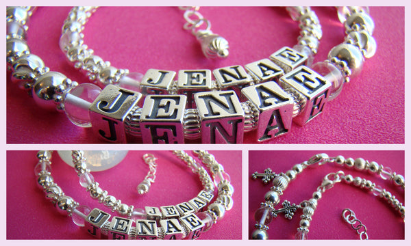Mother and Daughter Matching April Crystal Gemstone Birthstone Sterling Silver Baptism Name Bracelets