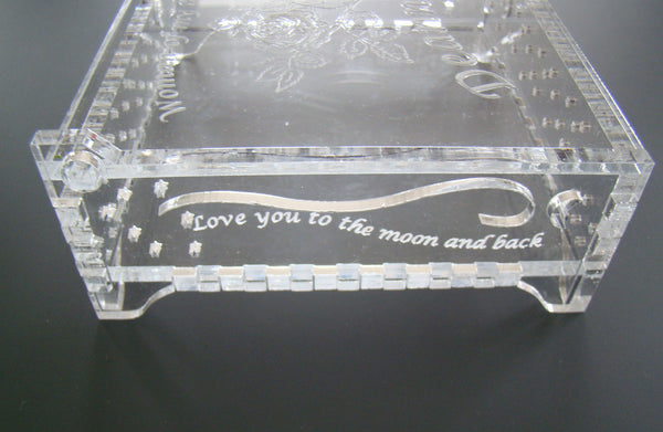 Engraved  Acrylic Jewelry Box with Name Personalization and Message