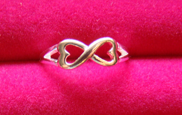 Infinity Infinite Hearts Rose Gold Silver Ladies Ring Size 7