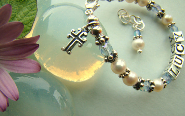 White Freshwater Pearl March Aquamarine Birthstone Baptism Cross Charm Name Religious Bracelet