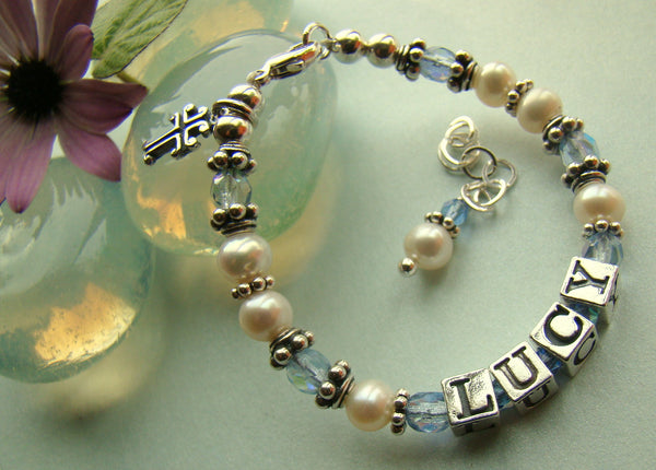 White Freshwater Pearl March Aqua Birthstone Baptism Cross Charm Name Religious Bracelet