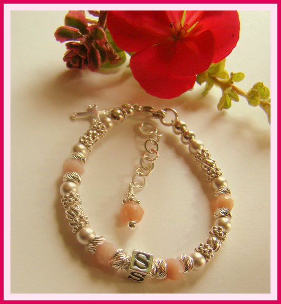 Pink Peruvian Natural Opal Birthstone Baby Child Name Bracelet