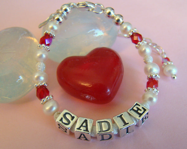 July Ruby Child Baby Name First Communion Bracelet with White Pearls