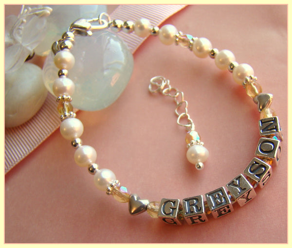 Sterling Silver Heart Personalized Birthstone Name Bracelet