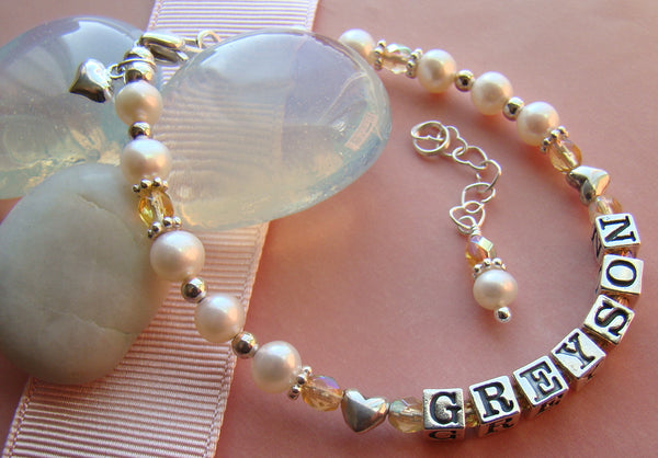 November Topaz Custom Sterling Silver Birthstone Name Bracelet