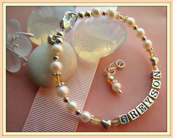All Hearts November Topaz Baby Child Birthstone Name Bracelet