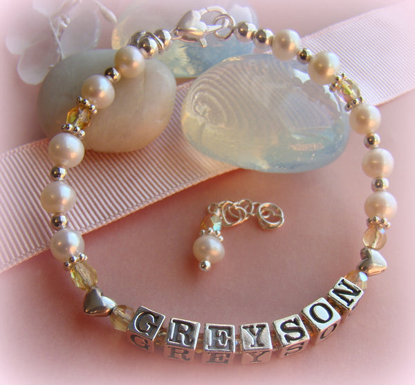White Pearls Heart Beads Sterling Silver Children's Name Bracelet