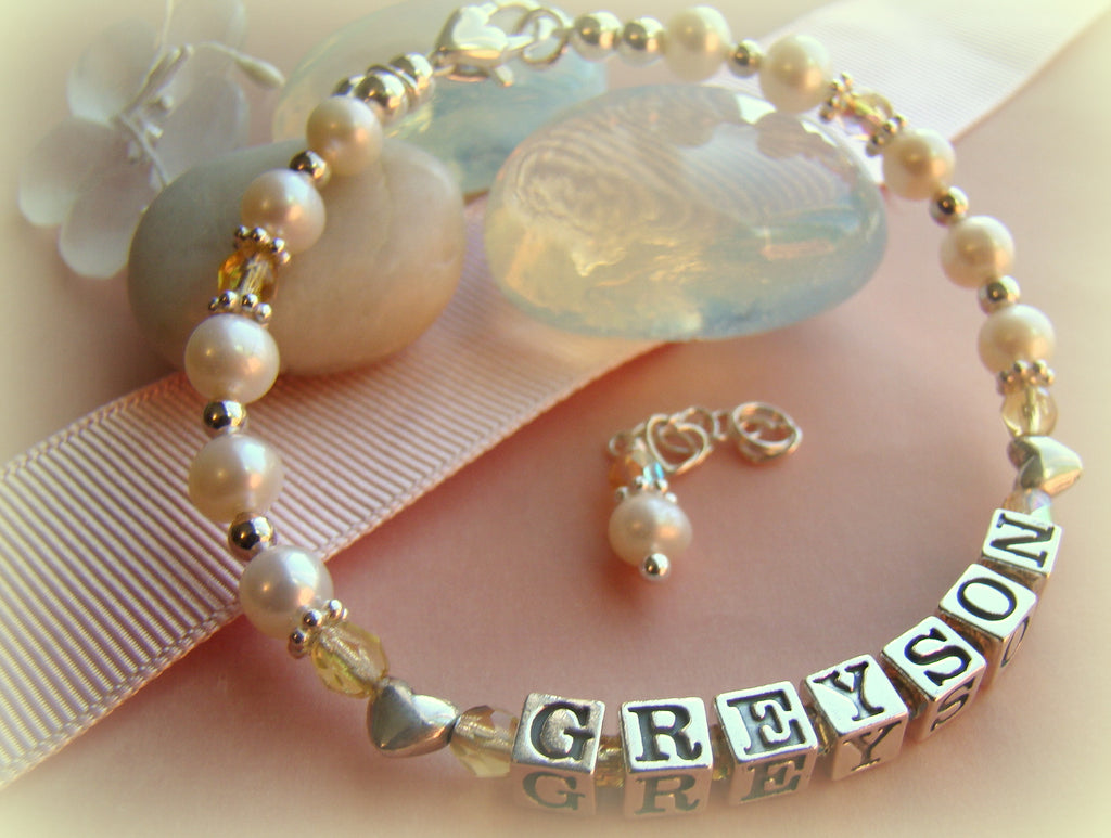 Freshwater Cultured White Pearls Children's Birthstone Name Bracelet