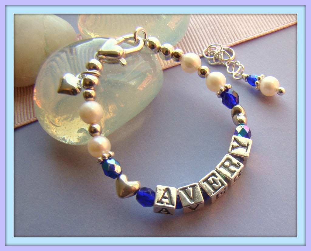 All Hearts September Sapphire White Pearls Baby Name Birthstone Bracelet