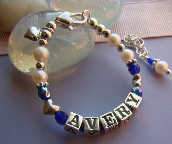Natural White Pearls Baby September Sapphire Name Bracelet