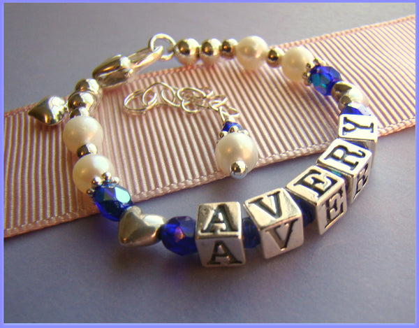 All Heart Beads Custom Baby Birthstone Name Bracelet
