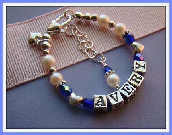 September Sapphire Fire Czech Birthstone Crystals Child Name Bracelet