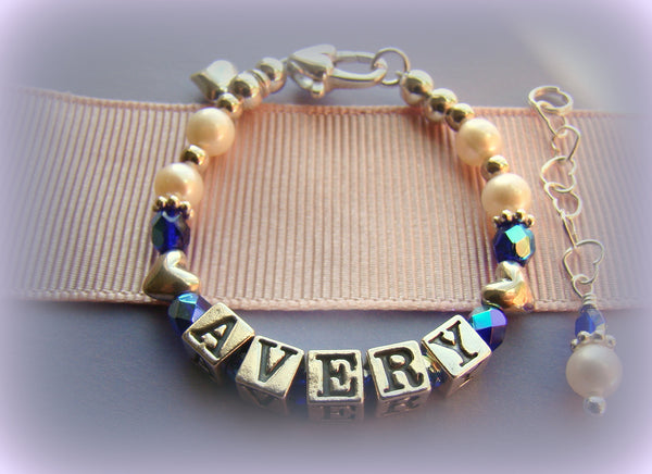Custom Baby Name Birthstone Bracelet Sterling Silver
