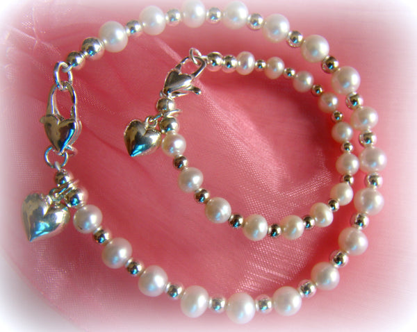 White Freshwater Pearls Mother and Daughter Silver Bracelets