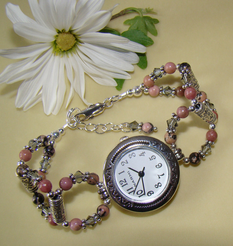 Rhodonite Grade A Gemstone Bali Sterling Silver Beaded Watch